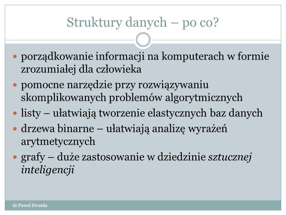 Struktury danych – po co? dr Paweł Drozda porządkowanie informacji na komputerach w formie zrozumiałej dla człowieka pomocne narzędzie przy rozwiązywa