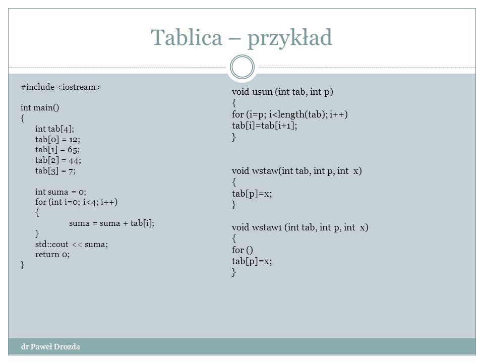 Kolejka – implementacja tablicy dr Paweł Drozda void dequeue(Q){ x = Q[head(Q)]; If (head(Q)= length(Q)) head(Q)=1; else head(Q)++; return x; } void enqueue(Q,x){ if (tail(Q))==lenght(Q)) tail(Q)=1; else tail(Q)++; Q[tail(Q)]=x; }