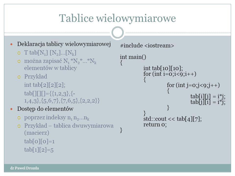 Tablice wielowymiarowe dr Paweł Drozda Deklaracja tablicy wielowymiarowej  T tab[N 1 ] [N 2 ]…[N k ]  można zapisać N 1 *N 2 *…*N k elementów w tabl