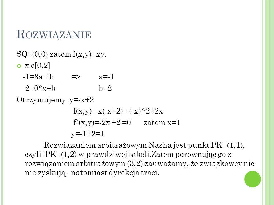 R OZWIĄZANIE SQ=(0,0) zatem f(x,y)=xy.