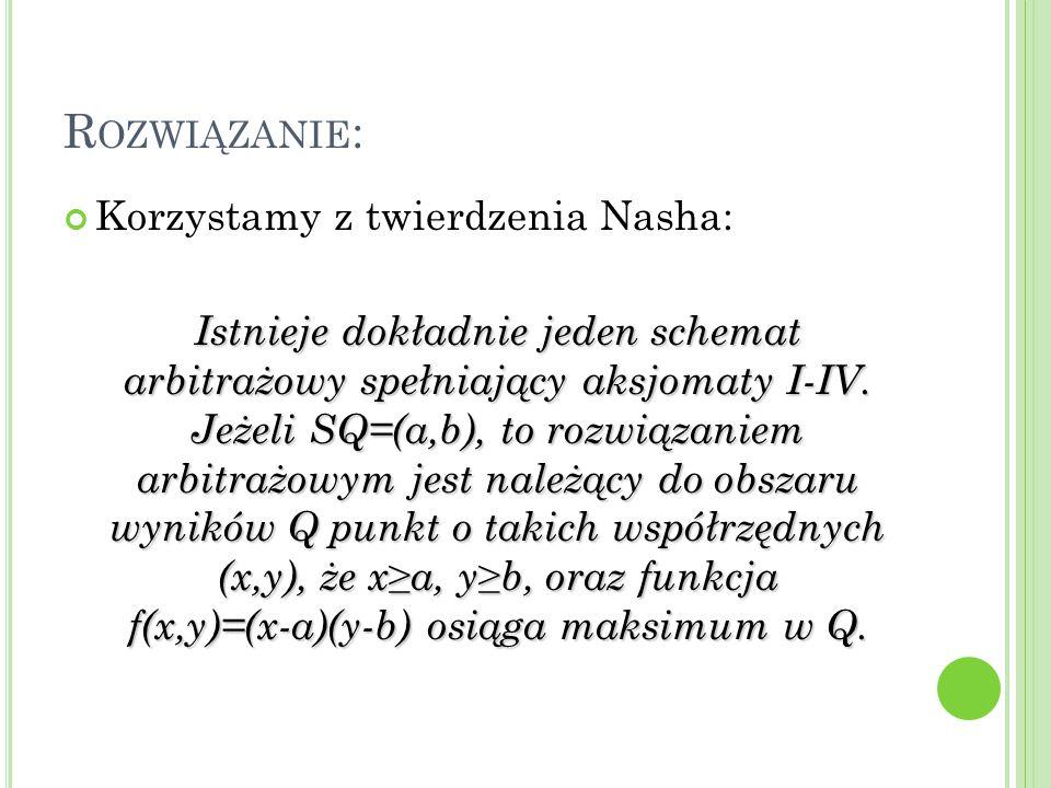 R OZWIĄZANIE : Korzystamy z twierdzenia Nasha: Istnieje dokładnie jeden schemat arbitrażowy spełniający aksjomaty I-IV.