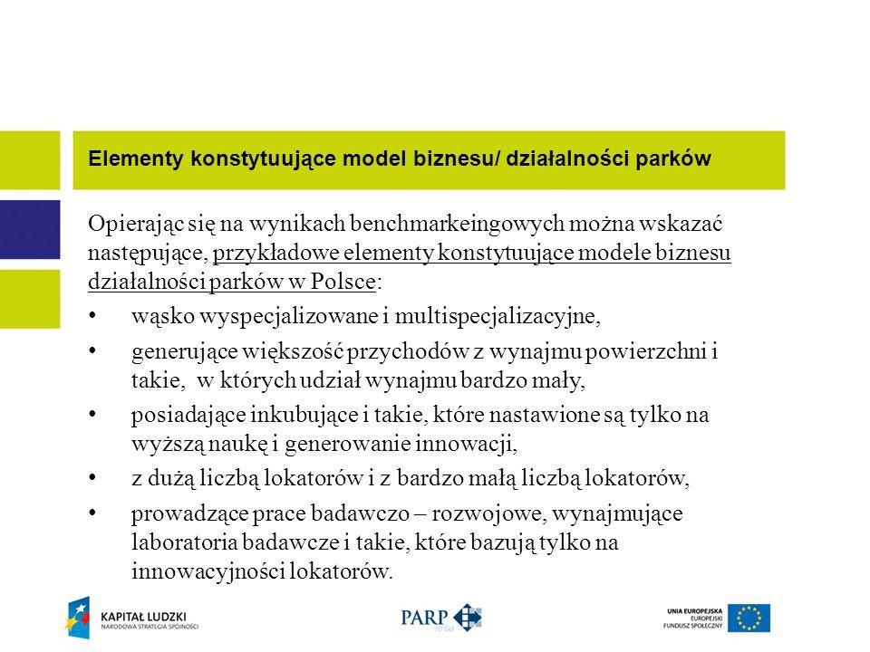 Opierając się na wynikach benchmarkeingowych można wskazać następujące, przykładowe elementy konstytuujące modele biznesu działalności parków w Polsce: wąsko wyspecjalizowane i multispecjalizacyjne, generujące większość przychodów z wynajmu powierzchni i takie, w których udział wynajmu bardzo mały, posiadające inkubujące i takie, które nastawione są tylko na wyższą naukę i generowanie innowacji, z dużą liczbą lokatorów i z bardzo małą liczbą lokatorów, prowadzące prace badawczo – rozwojowe, wynajmujące laboratoria badawcze i takie, które bazują tylko na innowacyjności lokatorów.