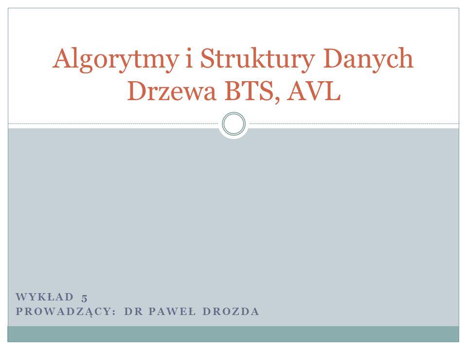Algorytmy i Struktury Danych Drzewa BTS, AVL WYKŁAD 5 PROWADZĄCY: DR PAWEŁ DROZDA