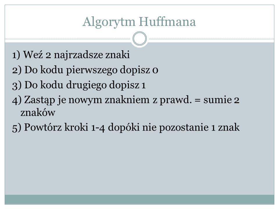 Algorytm Huffmana 1) Weź 2 najrzadsze znaki 2) Do kodu pierwszego dopisz 0 3) Do kodu drugiego dopisz 1 4) Zastąp je nowym znakniem z prawd. = sumie 2