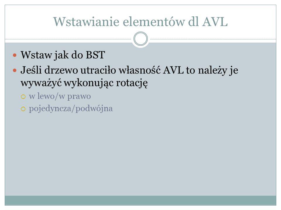 Wstawianie elementów dl AVL Wstaw jak do BST Jeśli drzewo utraciło własność AVL to należy je wyważyć wykonując rotację  w lewo/w prawo  pojedyncza/p