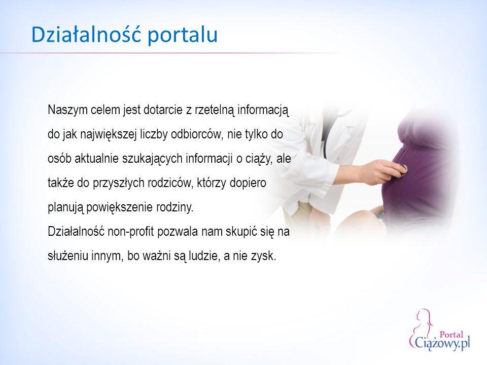 Działalność portalu Naszym celem jest dotarcie z rzetelną informacją do jak największej liczby odbiorców, nie tylko do osób aktualnie szukających informacji o ciąży, ale także do przyszłych rodziców, którzy dopiero planują powiększenie rodziny.