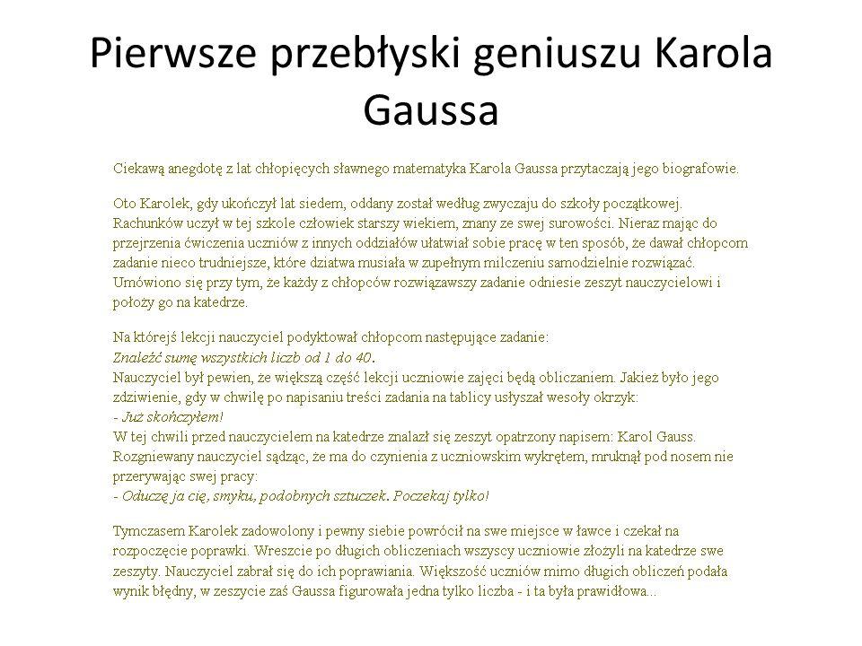 Pierwsze przebłyski geniuszu Karola Gaussa