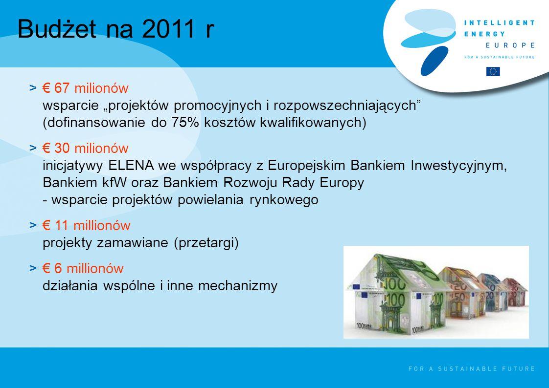 """Budżet na 2011 r >€ 67 milionów wsparcie """"projektów promocyjnych i rozpowszechniających (dofinansowanie do 75% kosztów kwalifikowanych) >€ 30 milionów inicjatywy ELENA we współpracy z Europejskim Bankiem Inwestycyjnym, Bankiem kfW oraz Bankiem Rozwoju Rady Europy - wsparcie projektów powielania rynkowego >€ 11 millionów projekty zamawiane (przetargi) >€ 6 millionów działania wspólne i inne mechanizmy"""