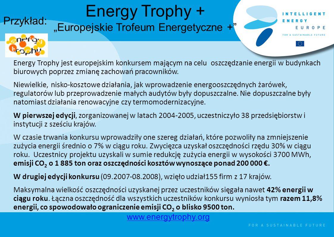 """Energy Trophy + """"Europejskie Trofeum Energetyczne + Energy Trophy jest europejskim konkursem mającym na celu oszczędzanie energii w budynkach biurowych poprzez zmianę zachowań pracowników."""