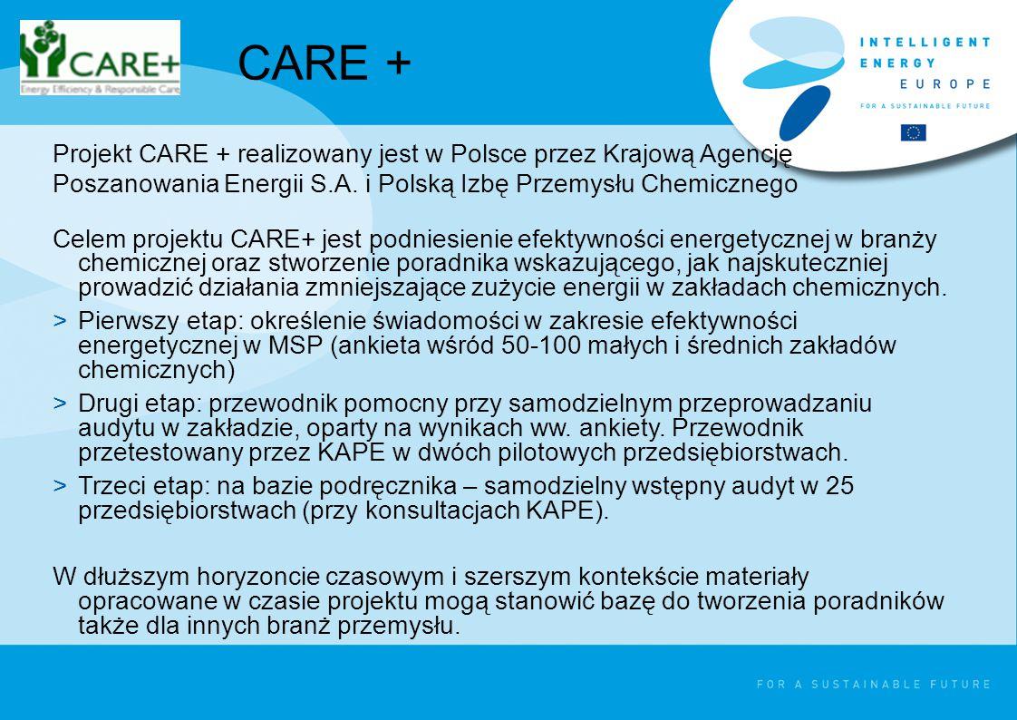 Celem projektu CARE+ jest podniesienie efektywności energetycznej w branży chemicznej oraz stworzenie poradnika wskazującego, jak najskuteczniej prowadzić działania zmniejszające zużycie energii w zakładach chemicznych.