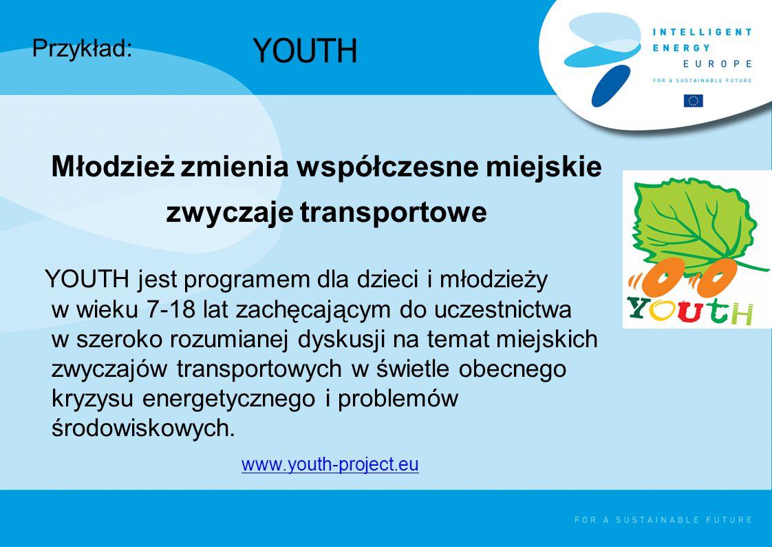 YOUTH Młodzież zmienia współczesne miejskie zwyczaje transportowe YOUTH jest programem dla dzieci i młodzieży w wieku 7-18 lat zachęcającym do uczestnictwa w szeroko rozumianej dyskusji na temat miejskich zwyczajów transportowych w świetle obecnego kryzysu energetycznego i problemów środowiskowych.