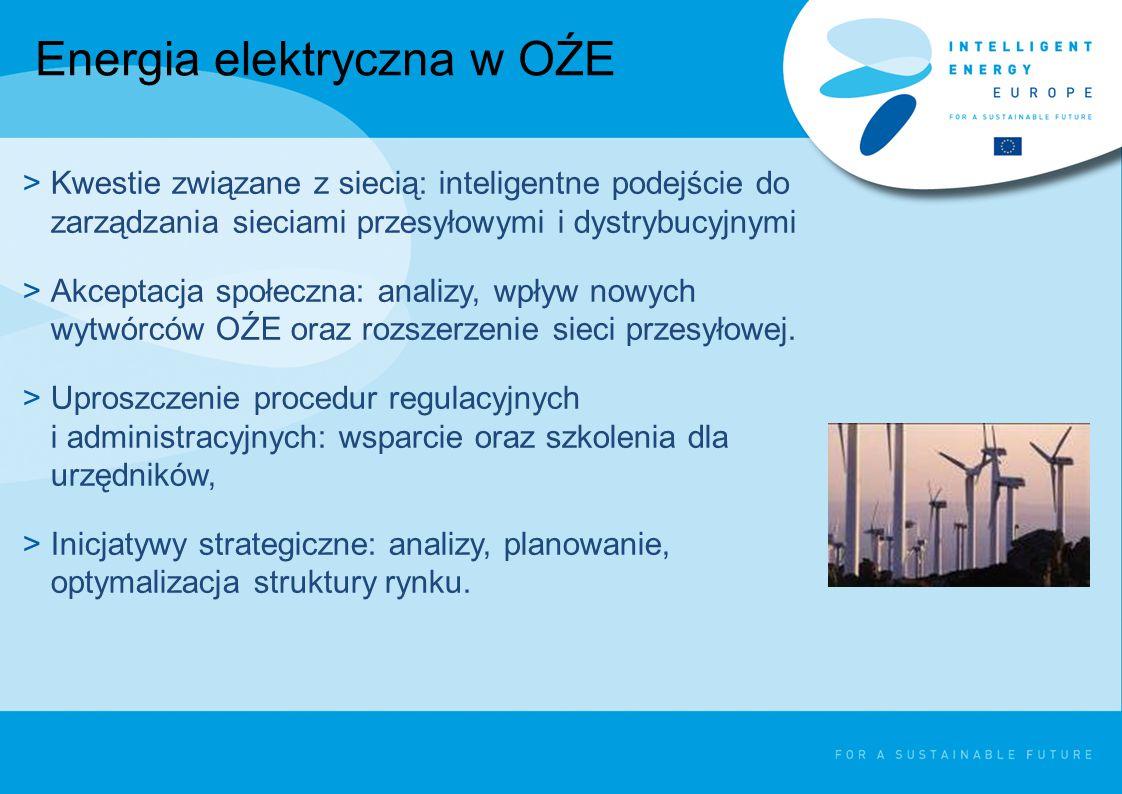 Energia elektryczna w OŹE >Kwestie związane z siecią: inteligentne podejście do zarządzania sieciami przesyłowymi i dystrybucyjnymi >Akceptacja społeczna: analizy, wpływ nowych wytwórców OŹE oraz rozszerzenie sieci przesyłowej.