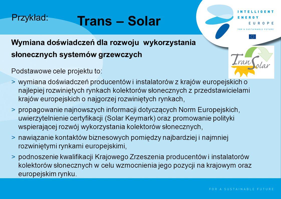 Trans – Solar Wymiana doświadczeń dla rozwoju wykorzystania słonecznych systemów grzewczych Podstawowe cele projektu to: >wymiana doświadczeń producentów i instalatorów z krajów europejskich o najlepiej rozwiniętych rynkach kolektorów słonecznych z przedstawicielami krajów europejskich o najgorzej rozwiniętych rynkach, >propagowanie najnowszych informacji dotyczących Norm Europejskich, uwierzytelnienie certyfikacji (Solar Keymark) oraz promowanie polityki wspierającej rozwój wykorzystania kolektorów słonecznych, >nawiązanie kontaktów biznesowych pomiędzy najbardziej i najmniej rozwiniętymi rynkami europejskimi, >podnoszenie kwalifikacji Krajowego Zrzeszenia producentów i instalatorów kolektorów słonecznych w celu wzmocnienia jego pozycji na krajowym oraz europejskim rynku.