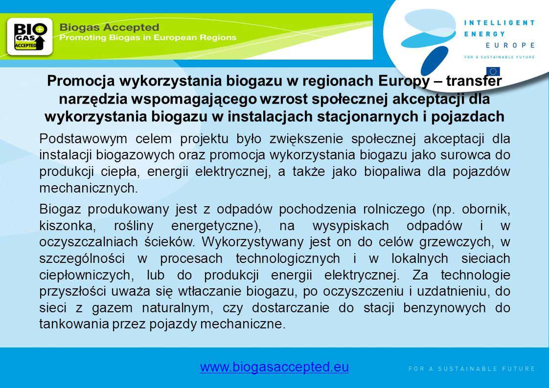 ThERRA Promocja wykorzystania biogazu w regionach Europy – transfer narzędzia wspomagającego wzrost społecznej akceptacji dla wykorzystania biogazu w instalacjach stacjonarnych i pojazdach Podstawowym celem projektu było zwiększenie społecznej akceptacji dla instalacji biogazowych oraz promocja wykorzystania biogazu jako surowca do produkcji ciepła, energii elektrycznej, a także jako biopaliwa dla pojazdów mechanicznych.