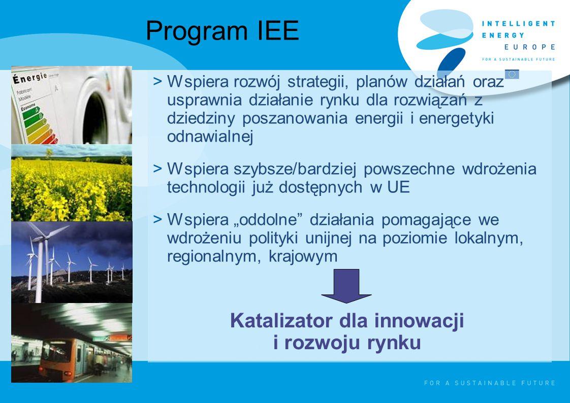 """Program IEE >Wspiera rozwój strategii, planów działań oraz usprawnia działanie rynku dla rozwiązań z dziedziny poszanowania energii i energetyki odnawialnej >Wspiera szybsze/bardziej powszechne wdrożenia technologii już dostępnych w UE >Wspiera """"oddolne działania pomagające we wdrożeniu polityki unijnej na poziomie lokalnym, regionalnym, krajowym Katalizator dla innowacji i rozwoju rynku"""