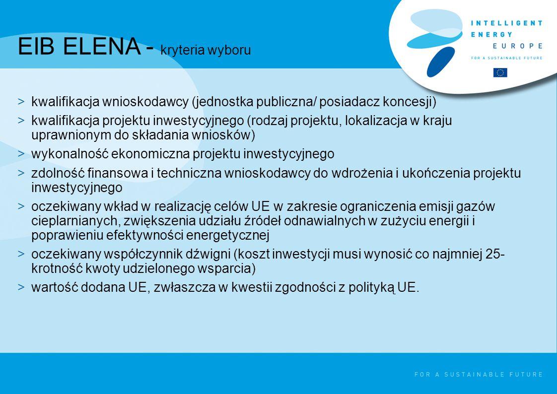 EIB ELENA - kryteria wyboru >kwalifikacja wnioskodawcy (jednostka publiczna/ posiadacz koncesji) >kwalifikacja projektu inwestycyjnego (rodzaj projektu, lokalizacja w kraju uprawnionym do składania wniosków) >wykonalność ekonomiczna projektu inwestycyjnego >zdolność finansowa i techniczna wnioskodawcy do wdrożenia i ukończenia projektu inwestycyjnego >oczekiwany wkład w realizację celów UE w zakresie ograniczenia emisji gazów cieplarnianych, zwiększenia udziału źródeł odnawialnych w zużyciu energii i poprawieniu efektywności energetycznej >oczekiwany współczynnik dźwigni (koszt inwestycji musi wynosić co najmniej 25- krotność kwoty udzielonego wsparcia) >wartość dodana UE, zwłaszcza w kwestii zgodności z polityką UE.