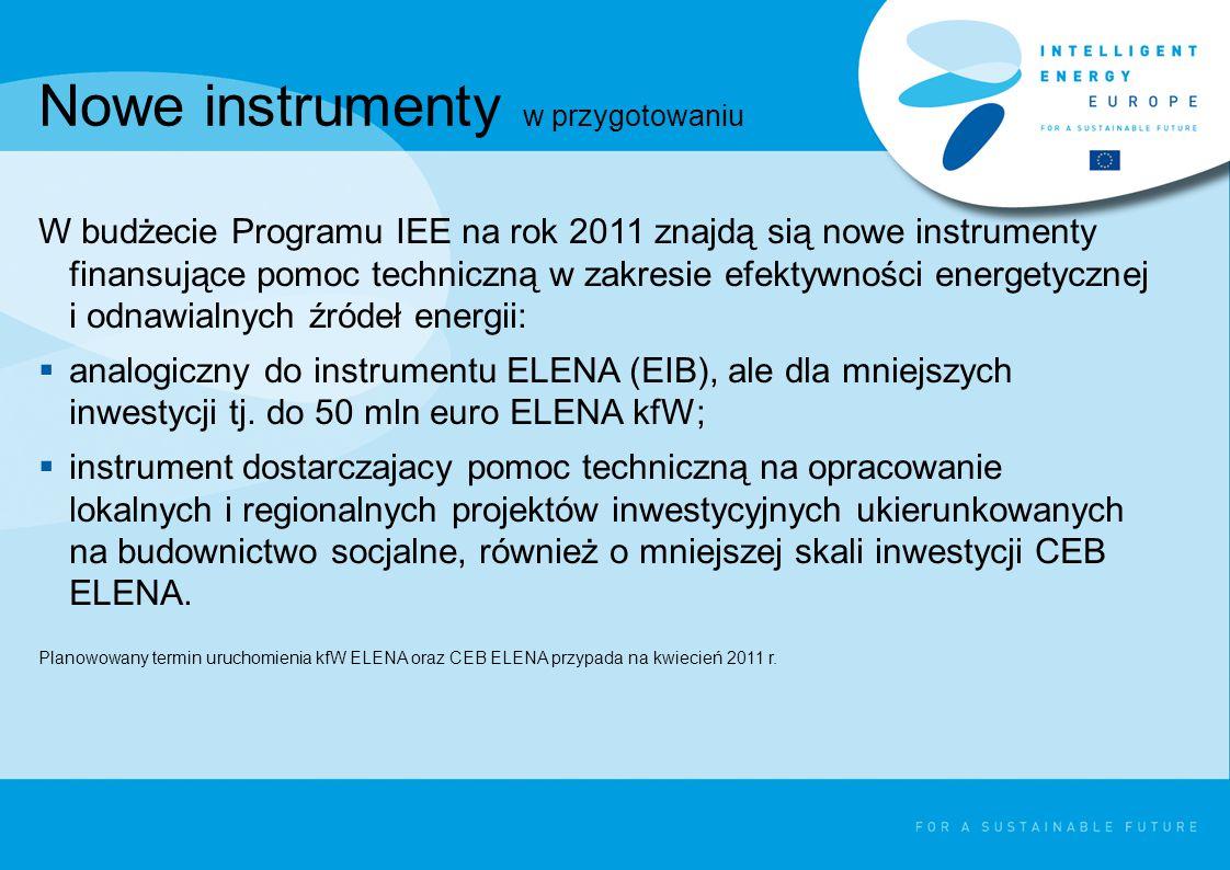 Nowe instrumenty w przygotowaniu W budżecie Programu IEE na rok 2011 znajdą sią nowe instrumenty finansujące pomoc techniczną w zakresie efektywności energetycznej i odnawialnych źródeł energii:  analogiczny do instrumentu ELENA (EIB), ale dla mniejszych inwestycji tj.