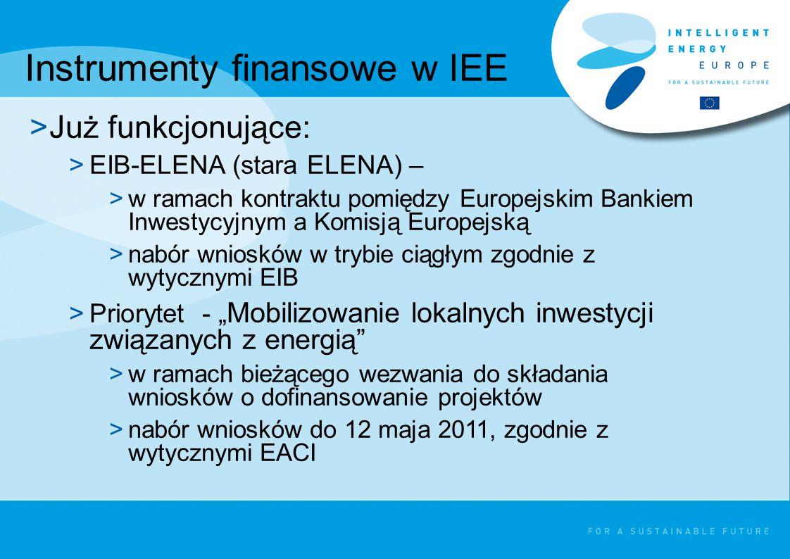 """Instrumenty finansowe w IEE >Już funkcjonujące: >EIB-ELENA (stara ELENA) – >w ramach kontraktu pomiędzy Europejskim Bankiem Inwestycyjnym a Komisją Europejską >nabór wniosków w trybie ciągłym zgodnie z wytycznymi EIB >Priorytet - """" Mobilizowanie lokalnych inwestycji związanych z energią >w ramach bieżącego wezwania do składania wniosków o dofinansowanie projektów >nabór wniosków do 12 maja 2011, zgodnie z wytycznymi EACI"""