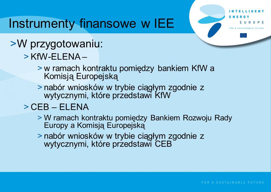 Budżet na instrumenty finansowe >EIB-ELENA: >15 mln na 2009r.