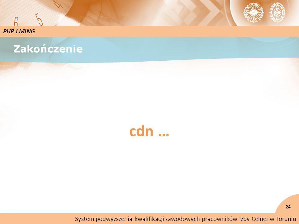 Zakończenie 24 PHP i MING System podwyższenia kwalifikacji zawodowych pracowników Izby Celnej w Toruniu cdn …