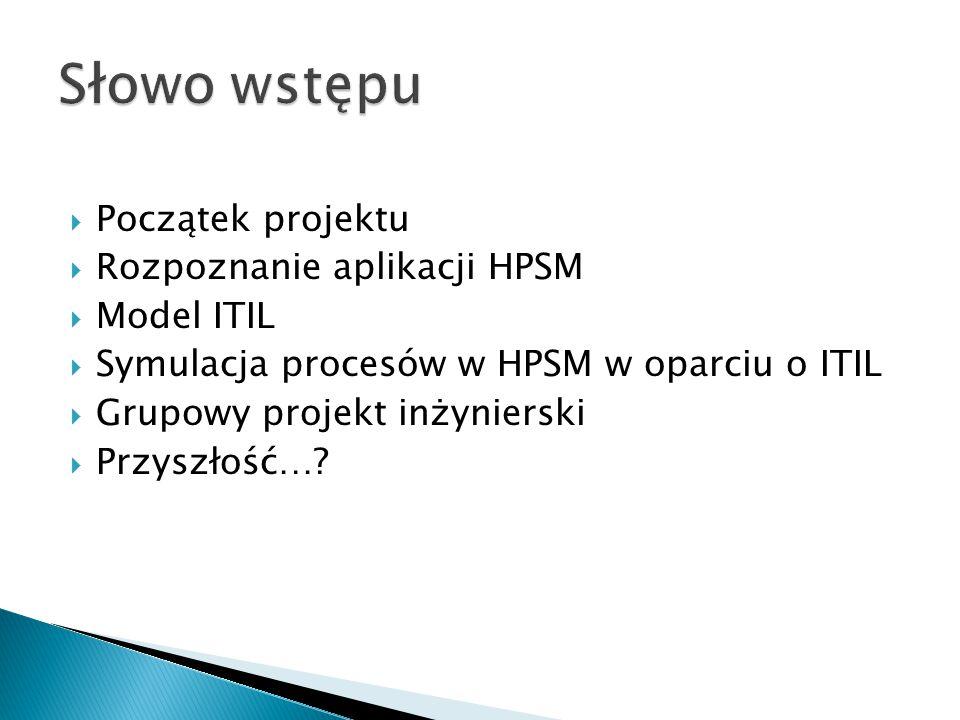  Początek projektu  Rozpoznanie aplikacji HPSM  Model ITIL  Symulacja procesów w HPSM w oparciu o ITIL  Grupowy projekt inżynierski  Przyszłość…