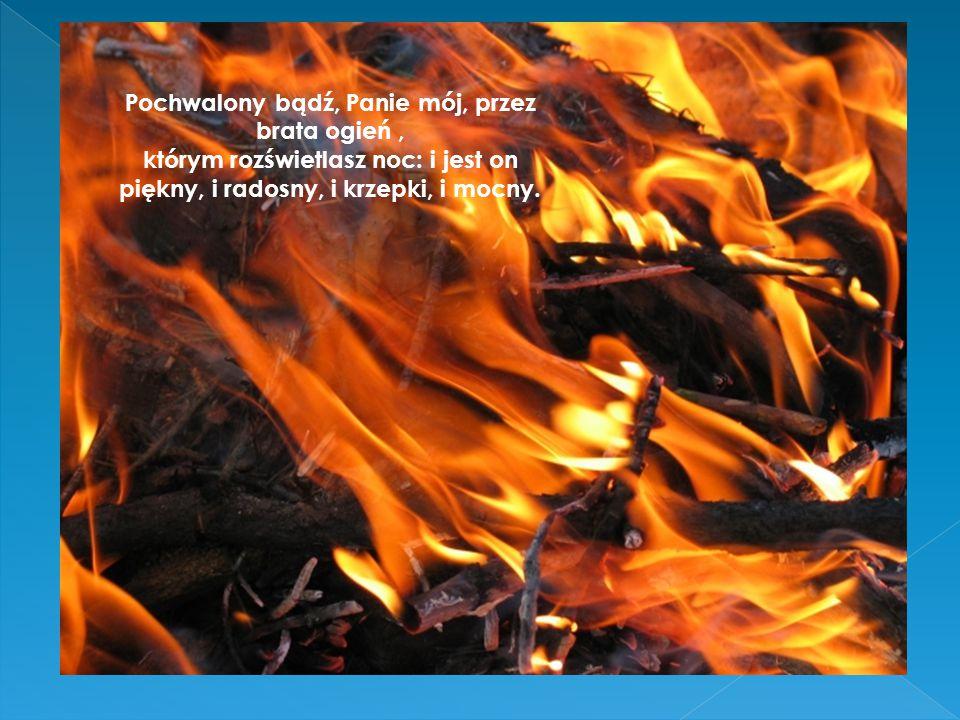 Pochwalony bądź, Panie mój, przez brata ogień, którym rozświetlasz noc: i jest on piękny, i radosny, i krzepki, i mocny.