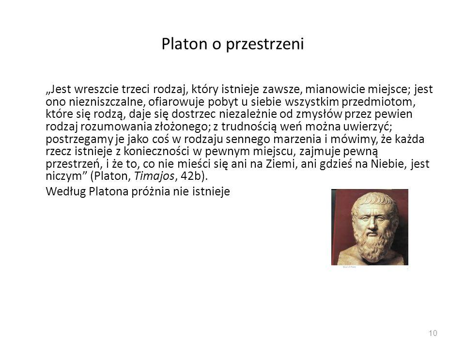 """Platon o przestrzeni """"Jest wreszcie trzeci rodzaj, który istnieje zawsze, mianowicie miejsce; jest ono niezniszczalne, ofiarowuje pobyt u siebie wszys"""