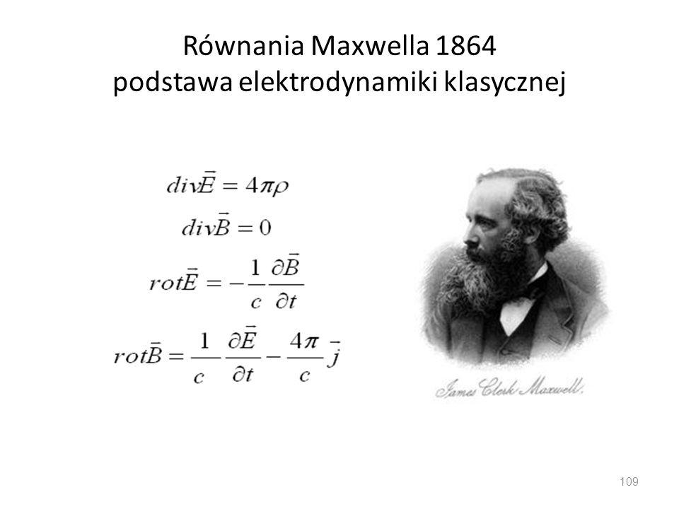Równania Maxwella 1864 podstawa elektrodynamiki klasycznej 109