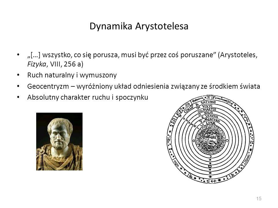 """Dynamika Arystotelesa """"[…] wszystko, co się porusza, musi być przez coś poruszane (Arystoteles, Fizyka, VIII, 256 a) Ruch naturalny i wymuszony Geocentryzm – wyróżniony układ odniesienia związany ze środkiem świata Absolutny charakter ruchu i spoczynku 15"""