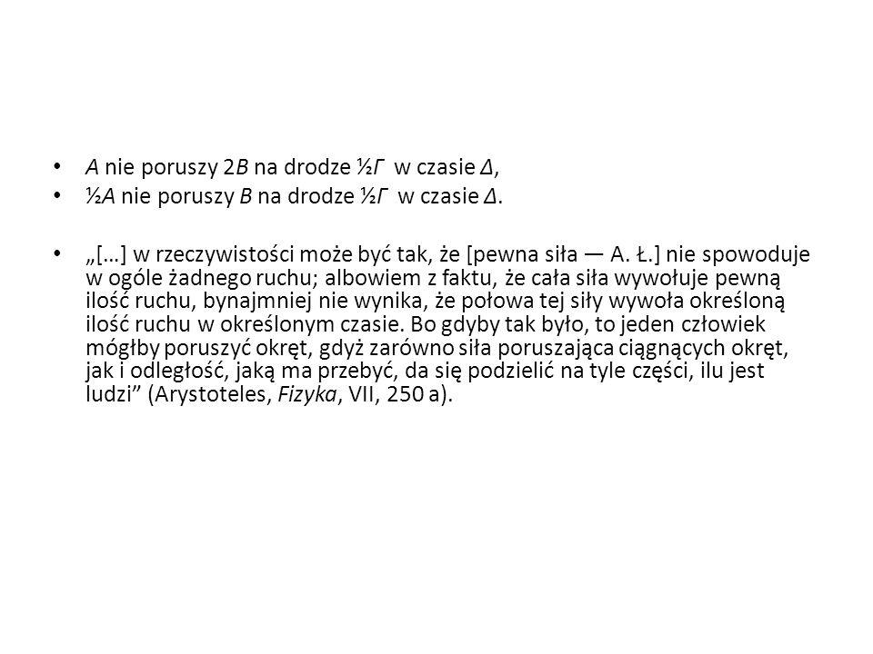 """A nie poruszy 2B na drodze ½Γ w czasie Δ, ½A nie poruszy B na drodze ½Γ w czasie Δ. """"[…] w rzeczywistości może być tak, że [pewna siła — A. Ł.] nie sp"""