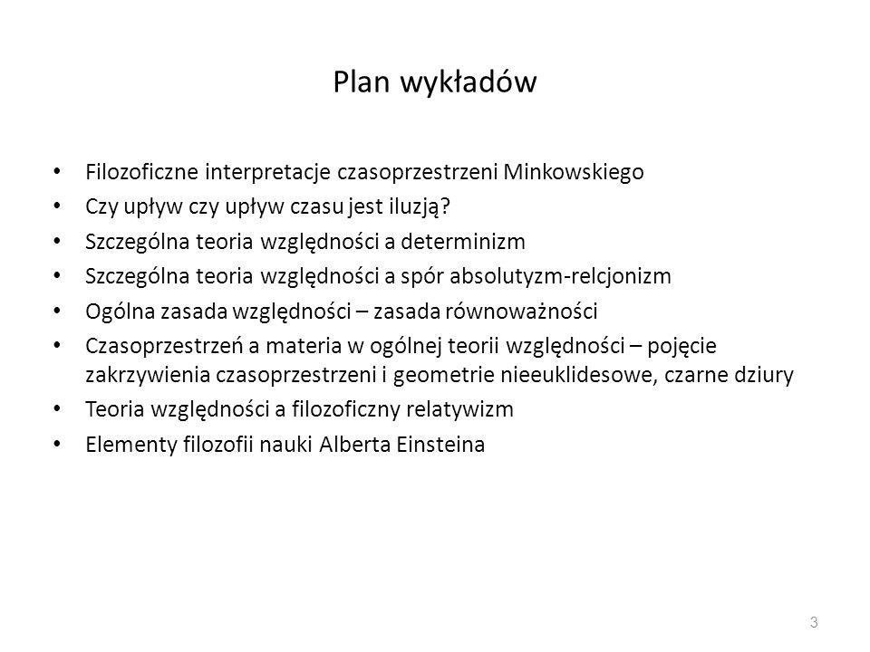 Plan wykładów Filozoficzne interpretacje czasoprzestrzeni Minkowskiego Czy upływ czy upływ czasu jest iluzją? Szczególna teoria względności a determin