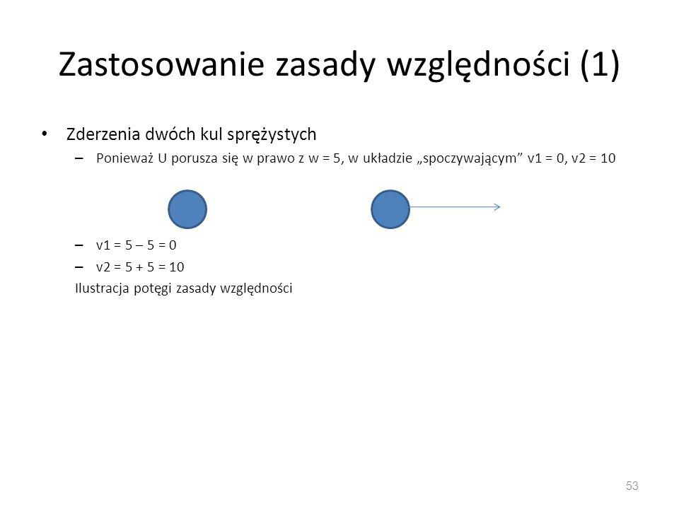 """Zastosowanie zasady względności (1) Zderzenia dwóch kul sprężystych – Ponieważ U porusza się w prawo z w = 5, w układzie """"spoczywającym v1 = 0, v2 = 10 – v1 = 5 – 5 = 0 – v2 = 5 + 5 = 10 Ilustracja potęgi zasady względności 53"""