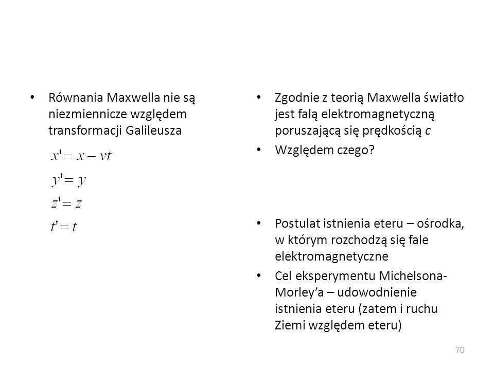Równania Maxwella nie są niezmiennicze względem transformacji Galileusza Zgodnie z teorią Maxwella światło jest falą elektromagnetyczną poruszającą si