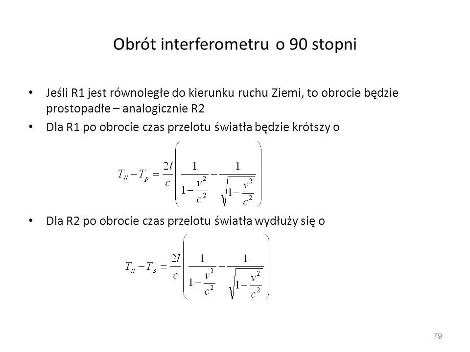 Obrót interferometru o 90 stopni Jeśli R1 jest równoległe do kierunku ruchu Ziemi, to obrocie będzie prostopadłe – analogicznie R2 Dla R1 po obrocie czas przelotu światła będzie krótszy o Dla R2 po obrocie czas przelotu światła wydłuży się o 79