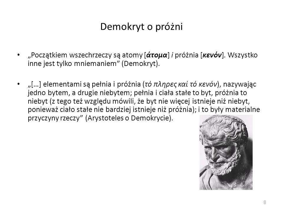 """Demokryt o próżni """"Początkiem wszechrzeczy są atomy [άτομα] i próżnia [κενόν]. Wszystko inne jest tylko mniemaniem"""" (Demokryt). """"[…] elementami są peł"""