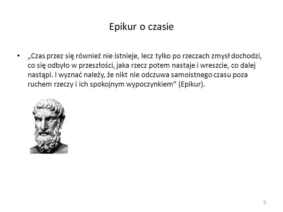 """Epikur o czasie """"Czas przez się również nie istnieje, lecz tylko po rzeczach zmysł dochodzi, co się odbyło w przeszłości, jaka rzecz potem nastaje i w"""