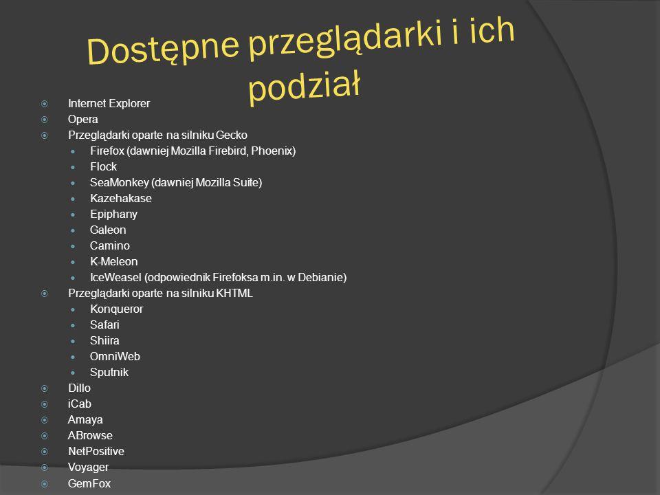 Dostępne przeglądarki i ich podział  Internet Explorer  Opera  Przeglądarki oparte na silniku Gecko Firefox (dawniej Mozilla Firebird, Phoenix) Flo