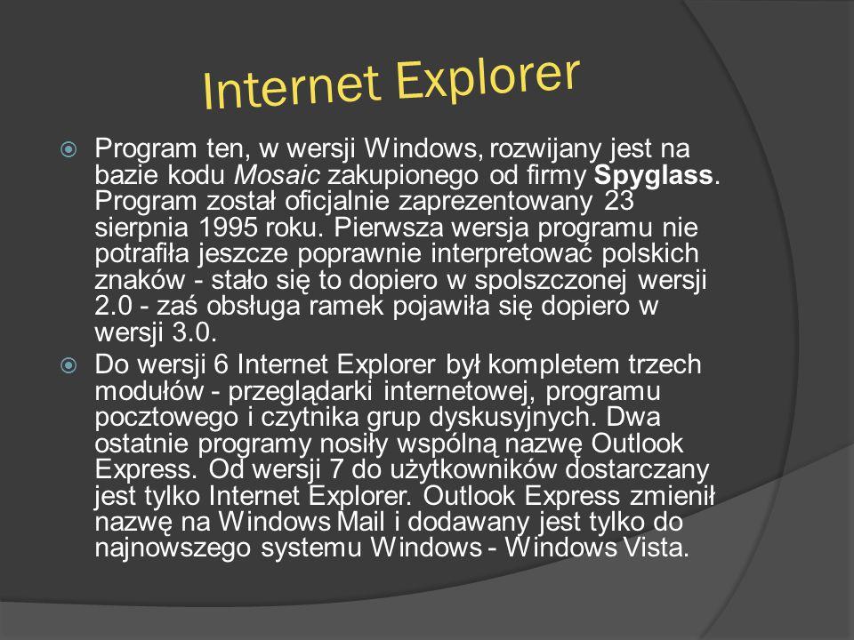 Internet Explorer  Program ten, w wersji Windows, rozwijany jest na bazie kodu Mosaic zakupionego od firmy Spyglass. Program został oficjalnie zaprez