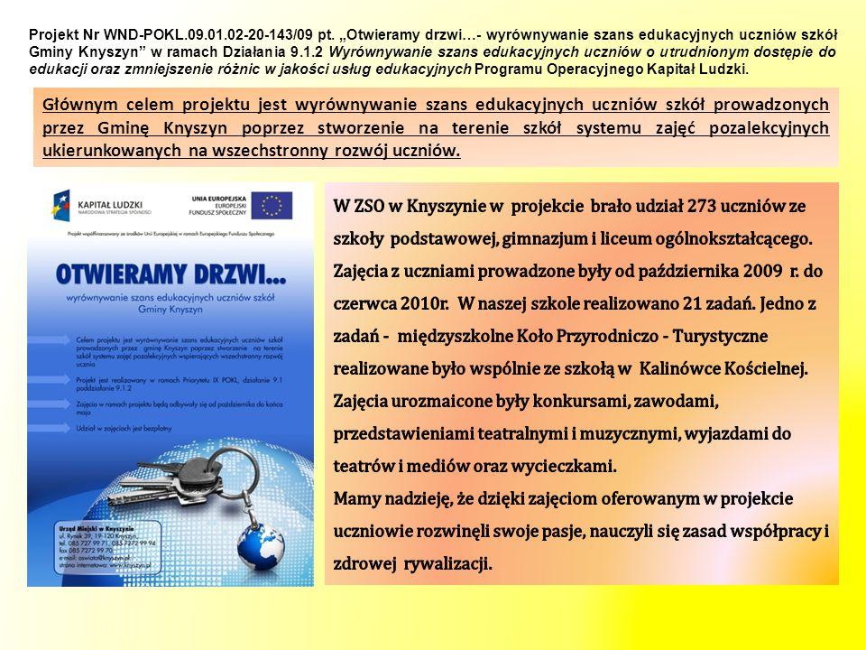 Zadanie 17 - prowadzący Krzysztof Chowański i Anna Chowańska W zajęciach udział brali uczniowie z SP i Gimnazjum w ZSO w Knyszynie.