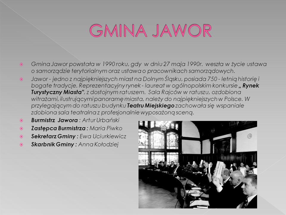  Gmina Jawor powstała w 1990 roku, gdy w dniu 27 maja 1990r. weszła w życie ustawa o samorządzie terytorialnym oraz ustawa o pracownikach samorządowy