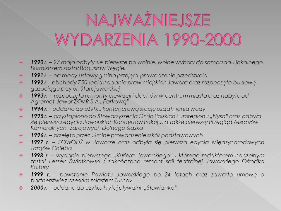  1990 r. – 27 maja odbyły się pierwsze po wojnie, wolne wybory do samorządu lokalnego. Burmistrzem został Bogusław Węgiel  1991 r. – na mocy ustawy
