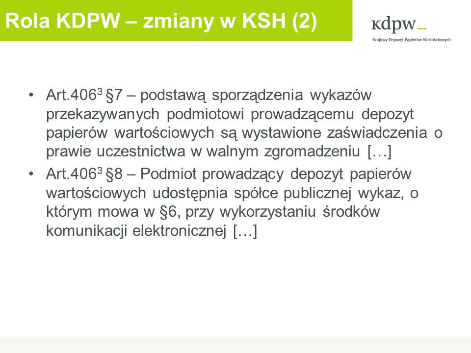 Obsługa WZ przez KDPW – terminy (1) Nie później niż WZ - 26 dni – emitent dokonuje ogłoszenia o zwołaniu walnego zgromadzenia spółki Nie później niż: Ogłoszenie WZ + 1 dzień – emitent przekazuje informacje do KDPW Przekazanie informacji uczestnikom KDPW – niezwłocznie po przekazaniu danych przez emitenta WZ - 16 dni - przypada dzień rejestracji uczestnictwa w walnym zgromadzeniu (record date)