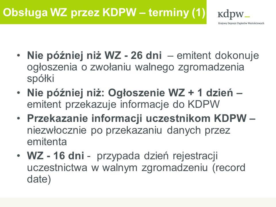 Komunikacja z emitentem - aplikacja internetowa Aplikacja dostępna z witryny http://www.kdpw.pl – link Walne Zgromadzeniawww.kdpw.pl Prosty, intuicyjny interfejs – obsługa za pomocą przeglądarki internetowej Transmitowane dane zabezpieczone przez zastosowanie certyfikatów elektronicznych Uwierzytelnienie sesji SSL z zastosowaniem identyfikacji klienta