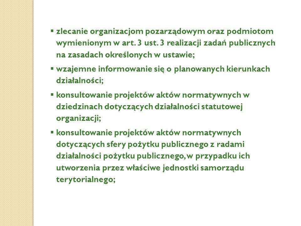  zlecanie organizacjom pozarządowym oraz podmiotom wymienionym w art. 3 ust. 3 realizacji zadań publicznych na zasadach określonych w ustawie;  wzaj