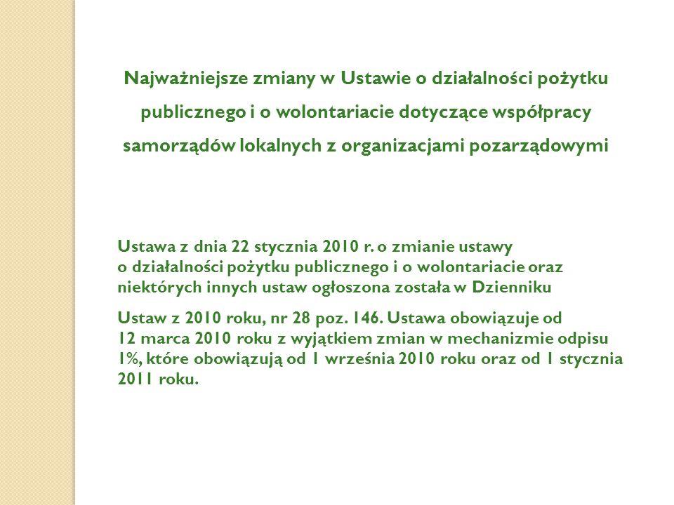 Najważniejsze zmiany w Ustawie o działalności pożytku publicznego i o wolontariacie dotyczące współpracy samorządów lokalnych z organizacjami pozarząd