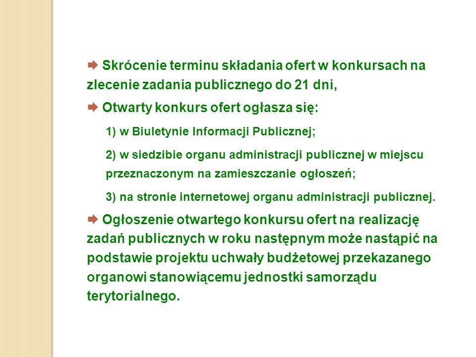  Skrócenie terminu składania ofert w konkursach na zlecenie zadania publicznego do 21 dni,  Otwarty konkurs ofert ogłasza się: 1) w Biuletynie Infor