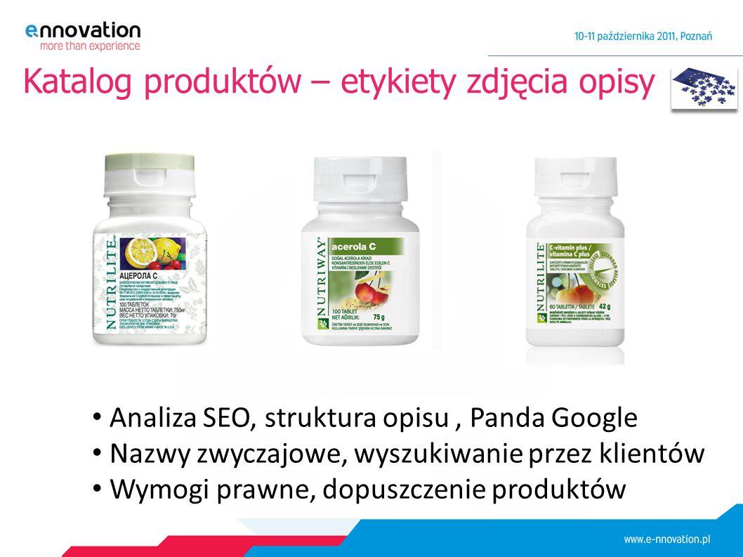 Katalog produktów – etykiety zdjęcia opisy Analiza SEO, struktura opisu, Panda Google Nazwy zwyczajowe, wyszukiwanie przez klientów Wymogi prawne, dopuszczenie produktów