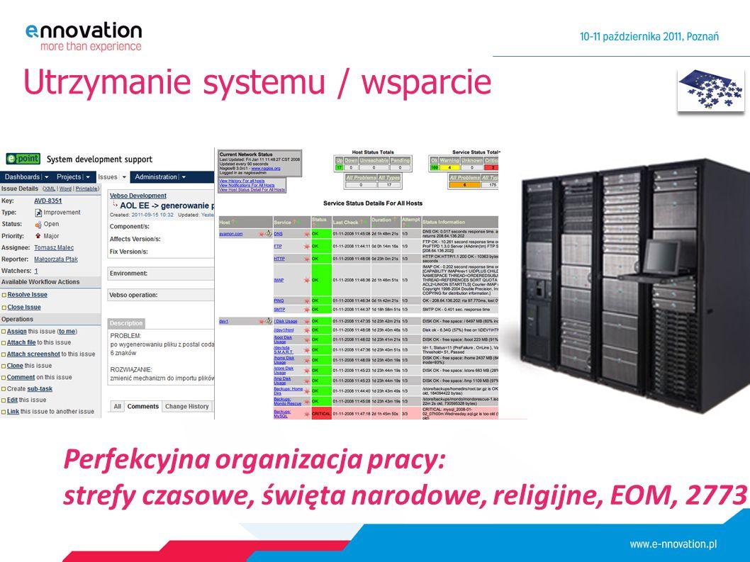 Utrzymanie systemu / wsparcie Perfekcyjna organizacja pracy: strefy czasowe, święta narodowe, religijne, EOM, 2773