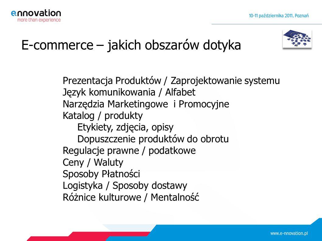 E-commerce – jakich obszarów dotyka Prezentacja Produktów / Zaprojektowanie systemu Język komunikowania / Alfabet Narzędzia Marketingowe i Promocyjne Katalog / produkty Etykiety, zdjęcia, opisy Dopuszczenie produktów do obrotu Regulacje prawne / podatkowe Ceny / Waluty Sposoby Płatności Logistyka / Sposoby dostawy Różnice kulturowe / Mentalność