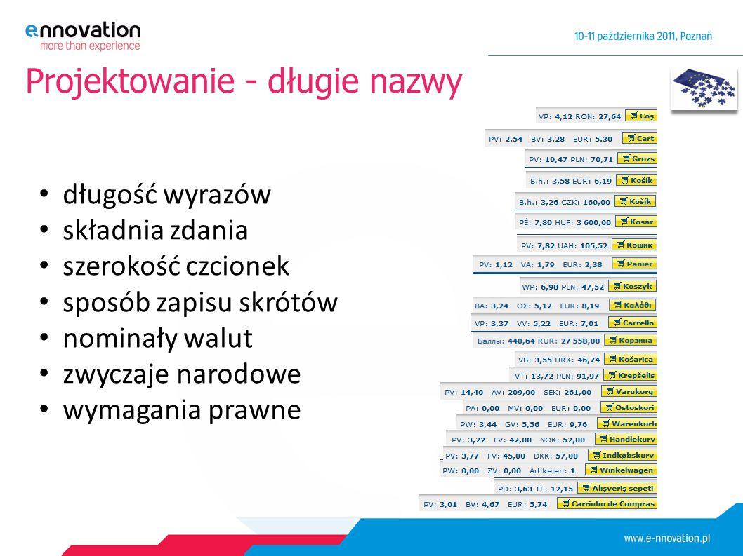 Projektowanie - długie nazwy długość wyrazów składnia zdania szerokość czcionek sposób zapisu skrótów nominały walut zwyczaje narodowe wymagania prawne